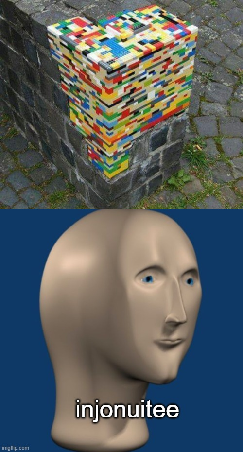 injonuitee |  injonuitee | image tagged in meme man,legos,brick wall,fixed,hold my beer | made w/ Imgflip meme maker