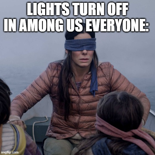 lights turn off* |  LIGHTS TURN OFF IN AMONG US EVERYONE: | image tagged in memes,bird box | made w/ Imgflip meme maker