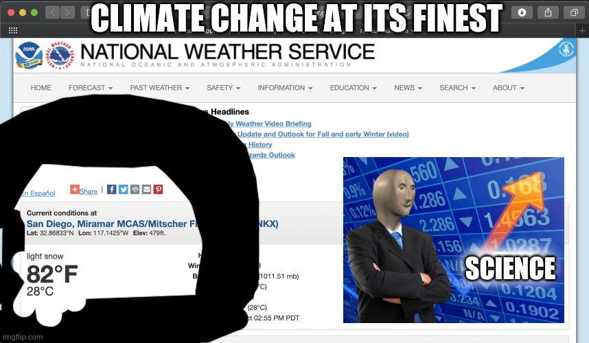 NWS gets science wrong |  CLIMATE CHANGE AT ITS FINEST; SCIENCE | image tagged in climate change,weather,nws | made w/ Imgflip meme maker