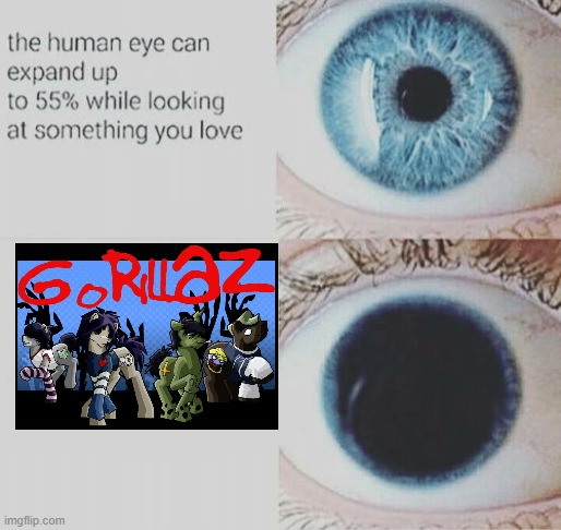 Eye pupil expand | image tagged in eye pupil expand,gorillaz,ponies,ponified | made w/ Imgflip meme maker