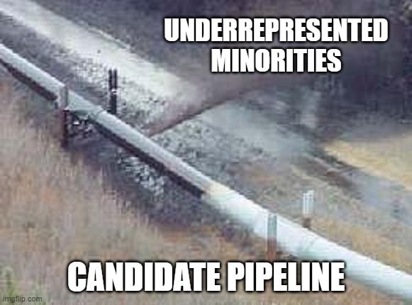 pipeline oil spill  |  UNDERREPRESENTED MINORITIES; CANDIDATE PIPELINE | image tagged in pipeline oil spill | made w/ Imgflip meme maker