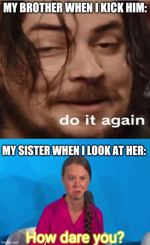 This is not true.. I don't kick people :P |  MY BROTHER WHEN I KICK HIM:; MY SISTER WHEN I LOOK AT HER:; How dare you? | image tagged in memes,funny memes,do it again,greta thunberg how dare you,siblings,brothers | made w/ Imgflip meme maker