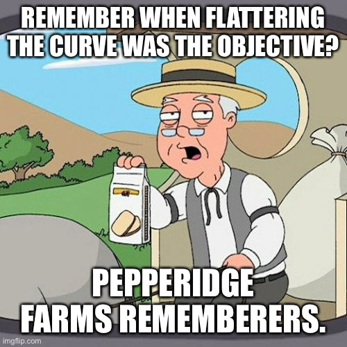 Moving goal posts |  REMEMBER WHEN FLATTERING THE CURVE WAS THE OBJECTIVE? PEPPERIDGE FARMS REMEMBERERS. | image tagged in memes,pepperidge farm remembers | made w/ Imgflip meme maker