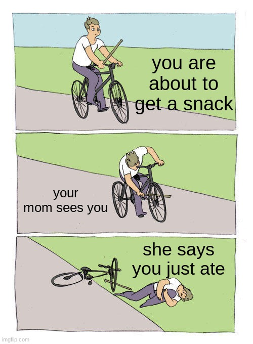 Bike Fall Meme | you are about to get a snack your mom sees you she says you just ate | image tagged in memes,bike fall | made w/ Imgflip meme maker