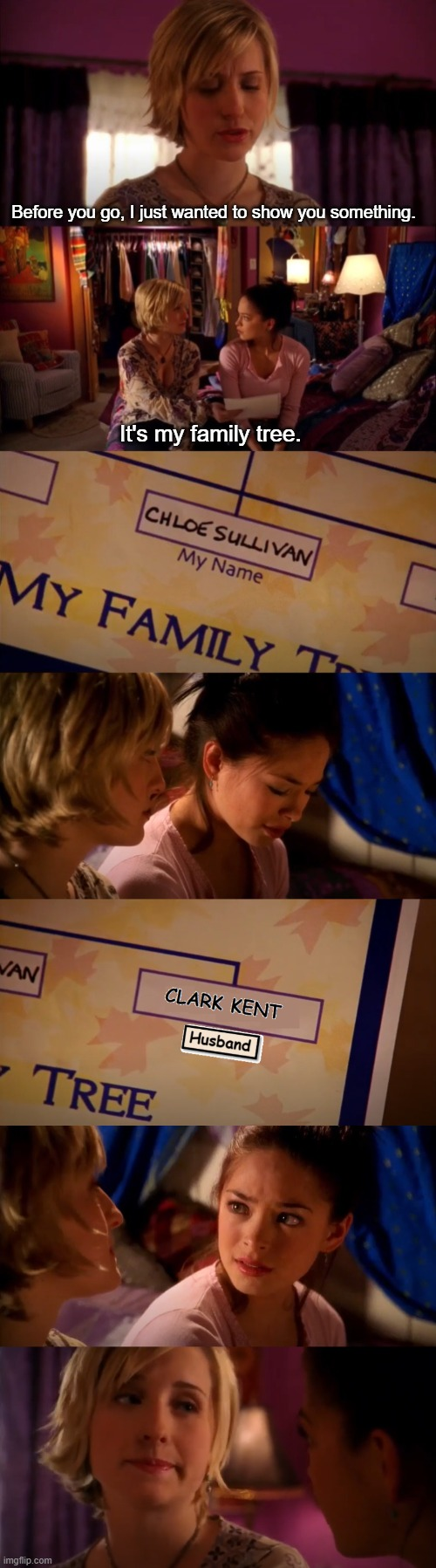 Chloe Sullivan's family tree |  Before you go, I just wanted to show you something. It's my family tree. | image tagged in smallville,clark kent,chloe sullivan,lana lang,superman,warner bros | made w/ Imgflip meme maker