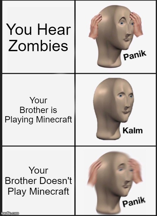 Panik Kalm Panik |  You Hear Zombies; Your Brother is Playing Minecraft; Your Brother Doesn't Play Minecraft | image tagged in memes,panik kalm panik | made w/ Imgflip meme maker