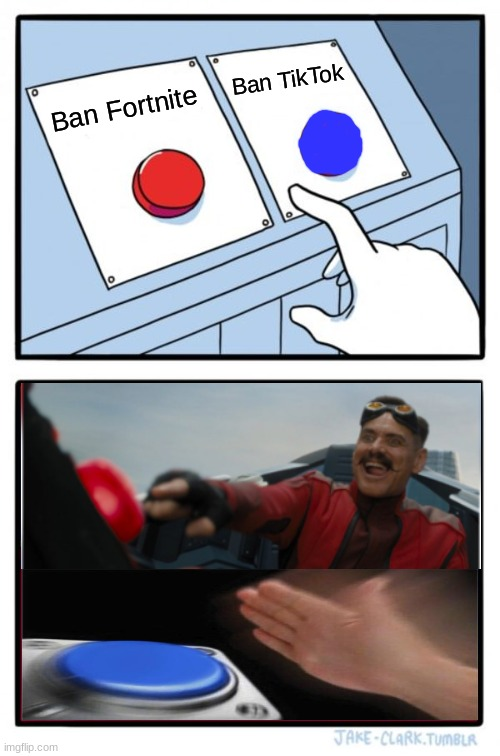 I just go with both |  Ban TikTok; Ban Fortnite | image tagged in memes,two buttons,tiktok bad,fortnite bad | made w/ Imgflip meme maker