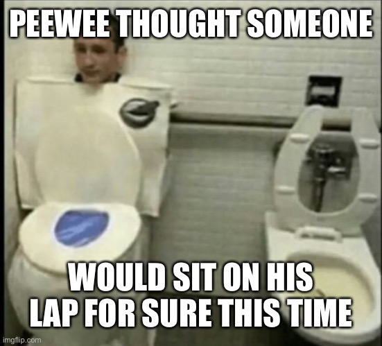 Poor peewee | PEEWEE THOUGHT SOMEONE WOULD SIT ON HIS LAP FOR SURE THIS TIME | image tagged in toilet disguise,peewee herman secret word of the day,peewee,herbert the pervert,toilet paper | made w/ Imgflip meme maker