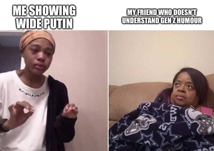 that was a great disapointment |  MY FRIEND WHO DOESN'T UNDERSTAND GEN Z HUMOUR; ME SHOWING WIDE PUTIN | image tagged in me explaining to my mom | made w/ Imgflip meme maker