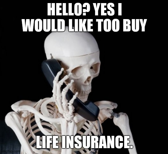 Skeleton on phone |  HELLO? YES I WOULD LIKE TOO BUY; LIFE INSURANCE. | image tagged in skeleton on phone | made w/ Imgflip meme maker