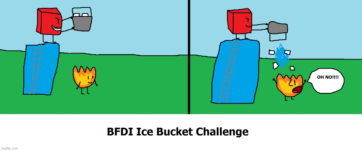 BFDI Ice Bucket Challenge | image tagged in bfdi,ice bucket challenge,artwork | made w/ Imgflip meme maker