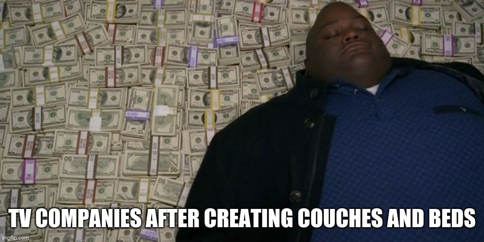 y e s |  TV COMPANIES AFTER CREATING COUCHES AND BEDS | image tagged in money money money,ironic | made w/ Imgflip meme maker