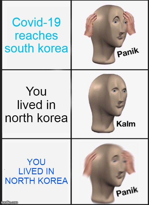 covid |  Covid-19 reaches south korea; You lived in north korea; YOU LIVED IN NORTH KOREA | image tagged in memes,panik kalm panik,covid-19 | made w/ Imgflip meme maker