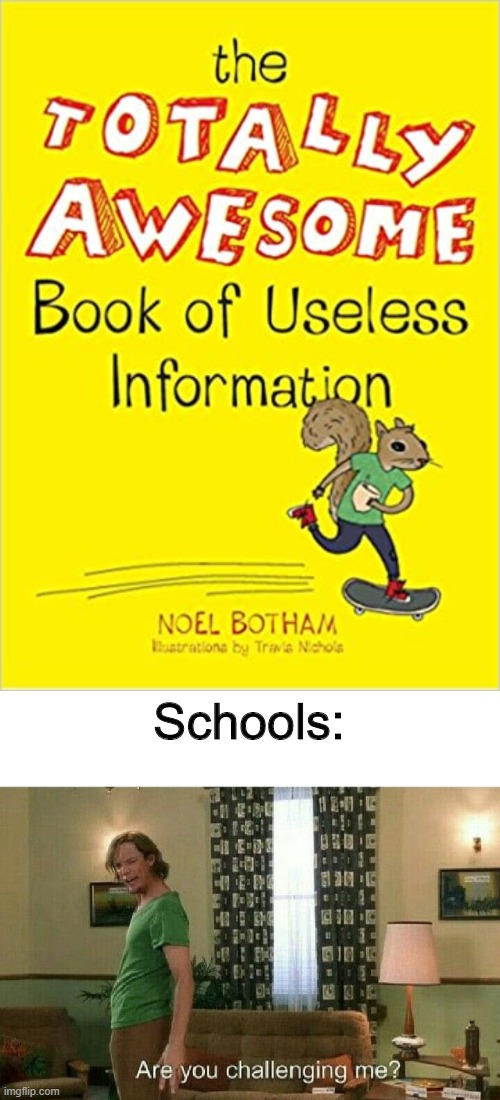 also true |  Schools: | image tagged in are you challenging me,school | made w/ Imgflip meme maker