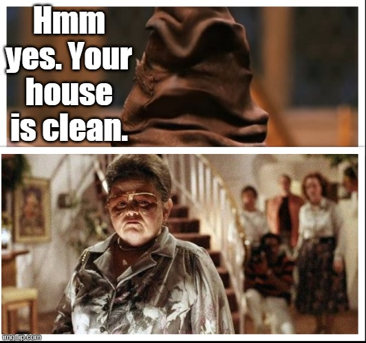 Sorting Hat |  Hmm yes. Your house is clean. | image tagged in poltergeist,harry potter,memes | made w/ Imgflip meme maker
