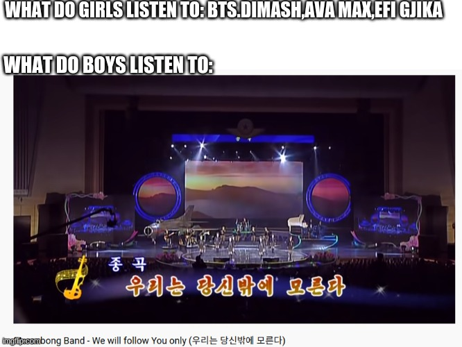North Korea always have the best music that you can listen to |  WHAT DO GIRLS LISTEN TO: BTS.DIMASH,AVA MAX,EFI GJIKA; WHAT DO BOYS LISTEN TO: | image tagged in memes,boys vs girls,funny but true,bts,north korea | made w/ Imgflip meme maker