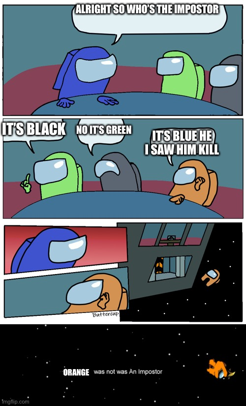 How every meeting goes |  ALRIGHT SO WHO'S THE IMPOSTOR; IT'S BLACK; NO IT'S GREEN; IT'S BLUE HE I SAW HIM KILL; ORANGE | image tagged in among us meeting,among us not the imposter | made w/ Imgflip meme maker