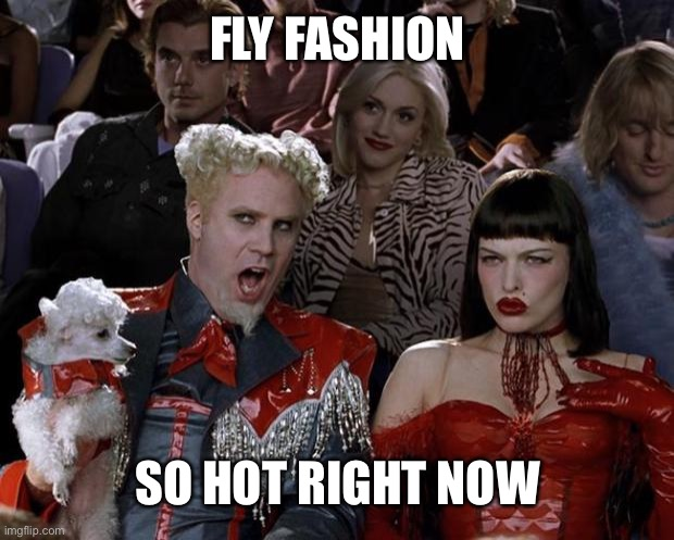 FLY FASHION SO HOT RIGHT NOW | image tagged in memes,mugatu so hot right now | made w/ Imgflip meme maker