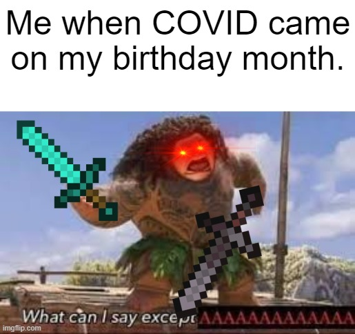 What can i say except aaaaaaaaaaa |  Me when COVID came on my birthday month. | image tagged in what can i say except aaaaaaaaaaa | made w/ Imgflip meme maker