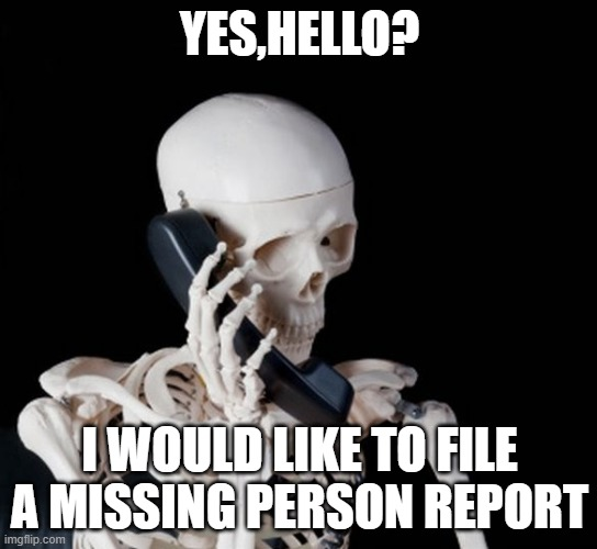 Skeleton on phone |  YES,HELLO? I WOULD LIKE TO FILE A MISSING PERSON REPORT | image tagged in skeleton on phone,pun | made w/ Imgflip meme maker