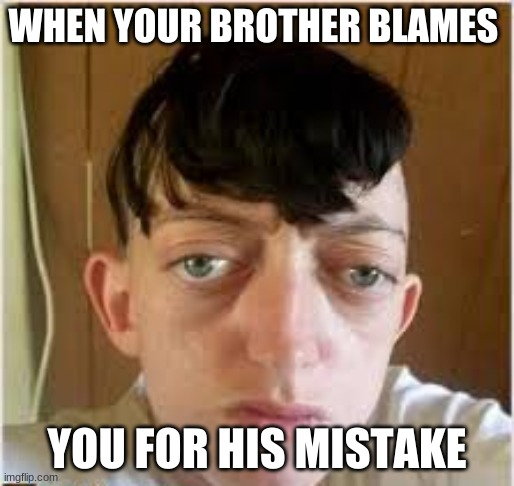 WHEN YOUR BROTHER BLAMES; YOU FOR HIS MISTAKE | image tagged in big eyes | made w/ Imgflip meme maker