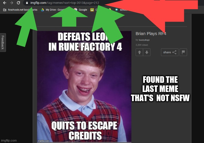 image |  FOUND THE LAST MEME THAT'S  NOT NSFW | image tagged in bad luck brian | made w/ Imgflip meme maker