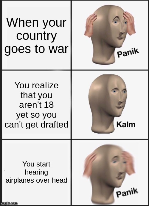 Uh oh, country go to war |  When your country goes to war; You realize that you aren't 18 yet so you can't get drafted; You start hearing airplanes over head | image tagged in memes,panik kalm panik | made w/ Imgflip meme maker