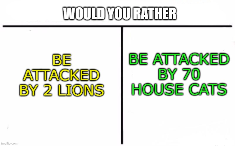 2 lions or 70 house cats? |  WOULD YOU RATHER; BE ATTACKED BY 70 HOUSE CATS; BE ATTACKED BY 2 LIONS | image tagged in memes,who would win | made w/ Imgflip meme maker