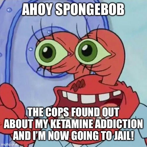 AHOY SPONGEBOB | AHOY SPONGEBOB THE COPS FOUND OUT ABOUT MY KETAMINE ADDICTION AND I'M NOW GOING TO JAIL! | image tagged in ahoy spongebob | made w/ Imgflip meme maker