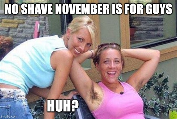 Please say it ain't so |  NO SHAVE NOVEMBER IS FOR GUYS; HUH? | image tagged in missing razor | made w/ Imgflip meme maker