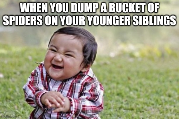 arachnophobia warning |  WHEN YOU DUMP A BUCKET OF SPIDERS ON YOUR YOUNGER SIBLINGS | image tagged in memes,evil toddler | made w/ Imgflip meme maker