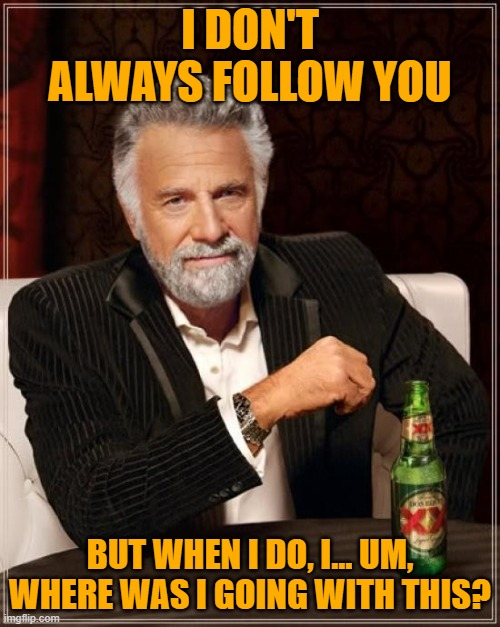 The Most Interesting Man In The World |  I DON'T ALWAYS FOLLOW YOU; BUT WHEN I DO, I... UM, WHERE WAS I GOING WITH THIS? | image tagged in memes,the most interesting man in the world | made w/ Imgflip meme maker