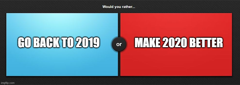 Would you rather |  MAKE 2020 BETTER; GO BACK TO 2019 | image tagged in would you rather | made w/ Imgflip meme maker