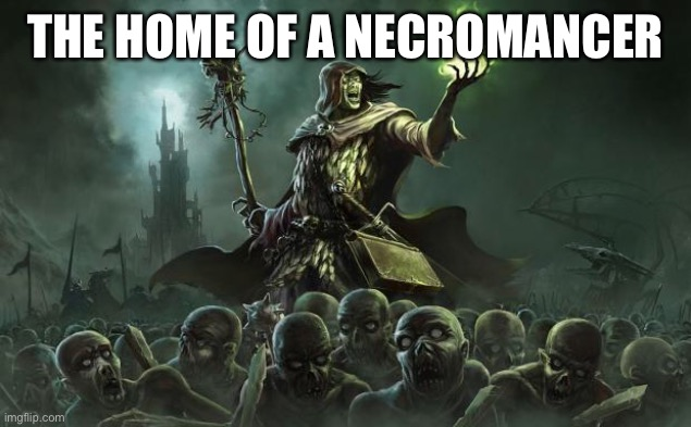 Necromancers | THE HOME OF A NECROMANCER | image tagged in necromancers | made w/ Imgflip meme maker