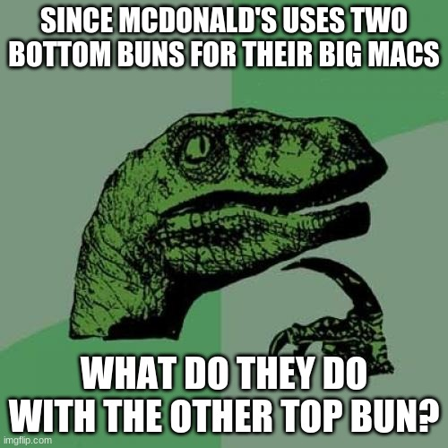 Ever ask the same thing? |  SINCE MCDONALD'S USES TWO BOTTOM BUNS FOR THEIR BIG MACS; WHAT DO THEY DO WITH THE OTHER TOP BUN? | image tagged in memes,philosoraptor,mcdonalds,mcdonald's,big mac | made w/ Imgflip meme maker
