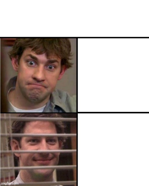 Jim office alternative drake blank template | image tagged in blank,drake,jim office blinds,theoffice | made w/ Imgflip meme maker