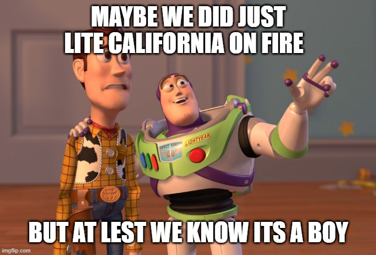 X, X Everywhere Meme |  MAYBE WE DID JUST LITE CALIFORNIA ON FIRE; BUT AT LEST WE KNOW ITS A BOY | image tagged in memes,x x everywhere | made w/ Imgflip meme maker