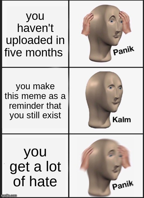 Panik Kalm Panik Meme |  you haven't uploaded in five months; you make this meme as a reminder that you still exist; you get a lot of hate | image tagged in memes,panik kalm panik | made w/ Imgflip meme maker