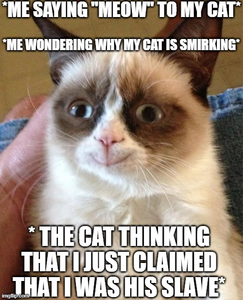 "Grumpy Cat Happy |  *ME SAYING ""MEOW"" TO MY CAT*; *ME WONDERING WHY MY CAT IS SMIRKING*; * THE CAT THINKING THAT I JUST CLAIMED THAT I WAS HIS SLAVE* 