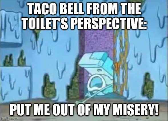 Taco bell be like |  TACO BELL FROM THE TOILET'S PERSPECTIVE:; PUT ME OUT OF MY MISERY! | image tagged in taco bell,spongebob,toilet,misery,end me | made w/ Imgflip meme maker