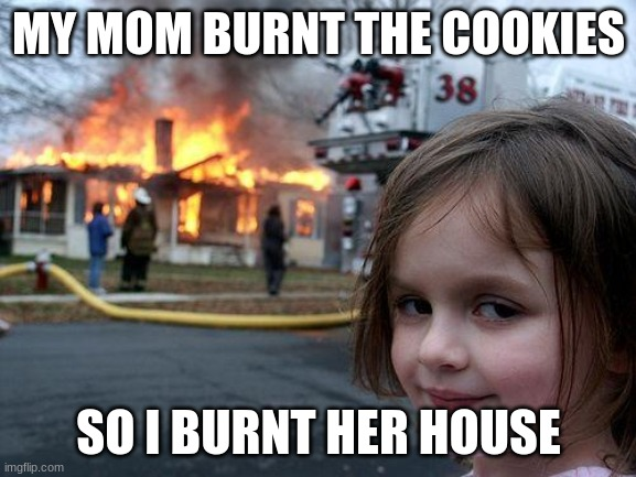 Disaster Girl Meme |  MY MOM BURNT THE COOKIES; SO I BURNT HER HOUSE | image tagged in memes,disaster girl | made w/ Imgflip meme maker