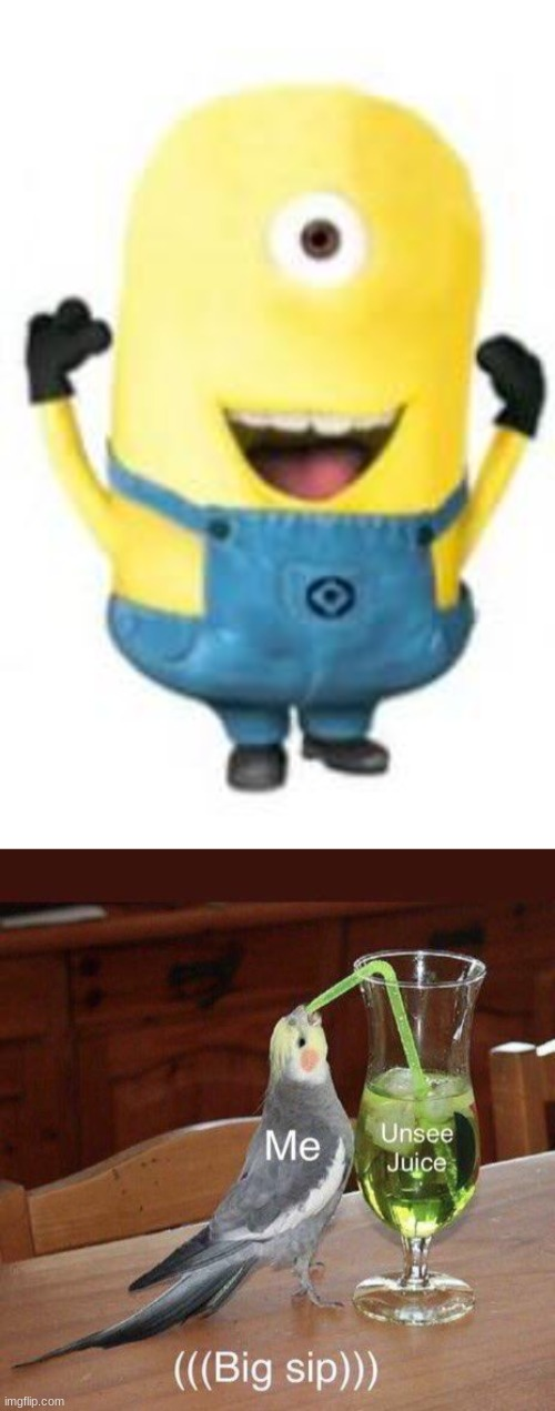 Oh god no. Please never again. | image tagged in minion,meme,unsee juice,funny | made w/ Imgflip meme maker