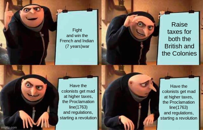 Gru's Plan Meme |  Fight and win the French and Indian  (7 years)war; Raise taxes for both the British and the Colonies; Have the colonists get mad at higher taxes, the Proclamation line(1763) and regulations, starting a revolution; Have the colonists get mad at higher taxes, the Proclamation line(1763) and regulations, starting a revolution | image tagged in memes,gru's plan,england,apush,history,meme | made w/ Imgflip meme maker
