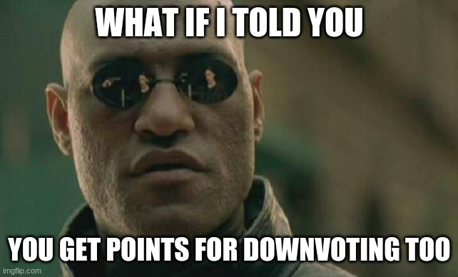 Matrix Morpheus Meme | WHAT IF I TOLD YOU YOU GET POINTS FOR DOWNVOTING TOO | image tagged in memes,matrix morpheus | made w/ Imgflip meme maker