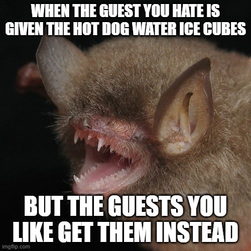 Oh Carp- He a nervous wreck |  WHEN THE GUEST YOU HATE IS GIVEN THE HOT DOG WATER ICE CUBES; BUT THE GUESTS YOU LIKE GET THEM INSTEAD | image tagged in why you screaming | made w/ Imgflip meme maker