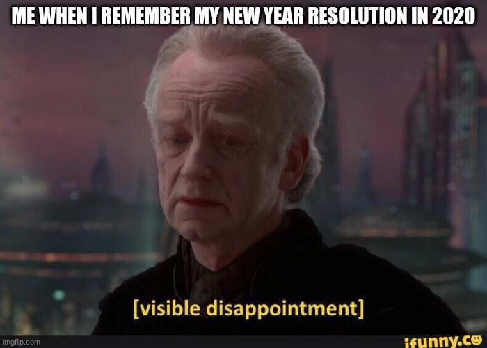 visible dissappointment |  ME WHEN I REMEMBER MY NEW YEAR RESOLUTION IN 2020 | image tagged in visible dissappointment | made w/ Imgflip meme maker