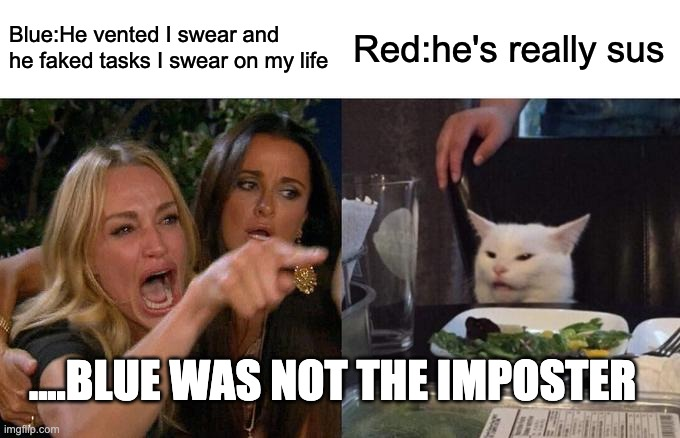 Woman Yelling At Cat Meme |  Blue:He vented I swear and he faked tasks I swear on my life; Red:he's really sus; ....BLUE WAS NOT THE IMPOSTER | image tagged in memes,woman yelling at cat | made w/ Imgflip meme maker