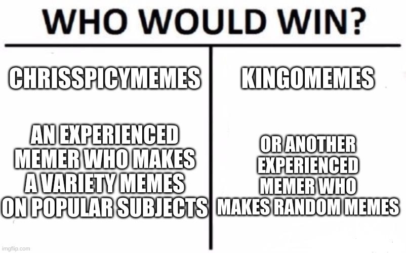 Who Would Win? Meme |  CHRISSPICYMEMES; KINGOMEMES; AN EXPERIENCED MEMER WHO MAKES A VARIETY MEMES ON POPULAR SUBJECTS; OR ANOTHER EXPERIENCED MEMER WHO MAKES RANDOM MEMES | image tagged in memes,who would win | made w/ Imgflip meme maker