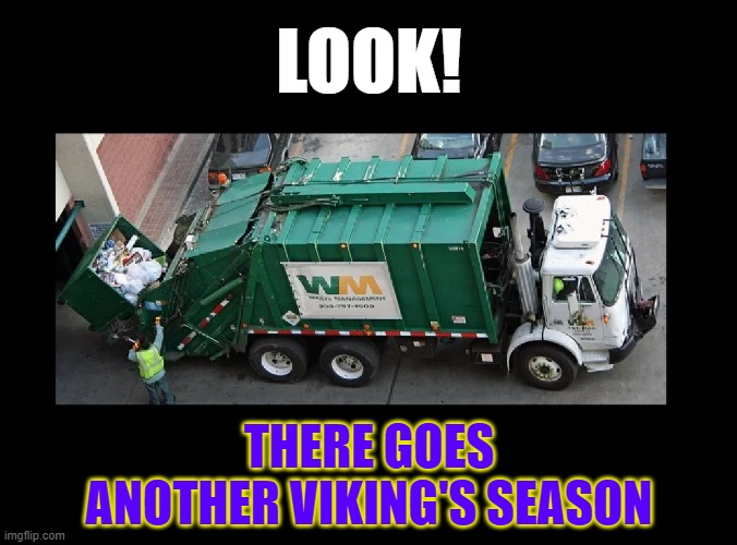 Heavy sigh |  LOOK! THERE GOES ANOTHER VIKING'S SEASON | image tagged in nfl,minnesota vikings,football | made w/ Imgflip meme maker
