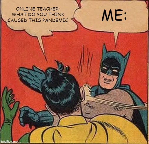 Batman Slapping Robin Meme |  ONLINE TEACHER: WHAT DO YOU THINK CAUSED THIS PANDEMIC; ME: | image tagged in memes,batman slapping robin | made w/ Imgflip meme maker